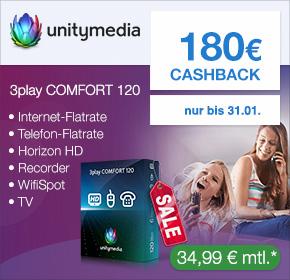 Unitymedia: Doppeltes Cashback! Bis zu 240€ Cashback+ Online-Vorteil