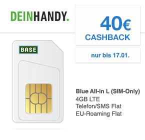 deinHandy: o2 Blue All-in L (4GB LTE) mit Allnet Flat / SMS Flat/ EU Roaming Flat + Gratis Handyversicherung zu 13,99€ monatlich + 40€ Cashback