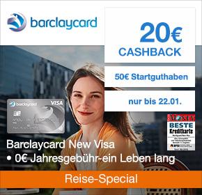 Barclaycard New Visa: 20€ Cashback + 50€ Startguthaben [Reisefieber 2017]