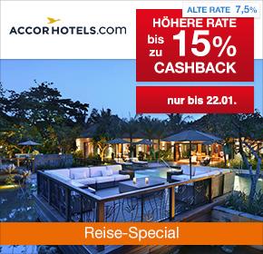 AccorHotels.com: Doppelte Raten mit bis zu 15% Cashback auf Hotelbuchungen [Reisefieber 2017]