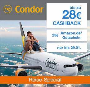 Condor: Bis zu 28€ Cashback + 25€ Amazon.de Gutschein* [Reisefieber 2017]