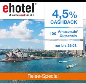 ehotel: 10€ Amazon.de Gutschein* + 4,5% Cashback auf Hotelbuchungen [Reisefieber 2017]