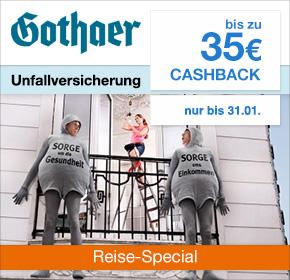 [Exklusiv] Gothaer: Unfallversicherung mit 35€ Cashback [Reisefieber 2017]