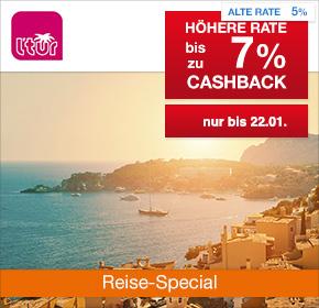 L'TUR im Reisefieber: 7% Cashback auf Last Minute & Pauschalreisen, Bahn+Hotel Kombi und Flug+Hotel Kombi [Reisefieber 2017]