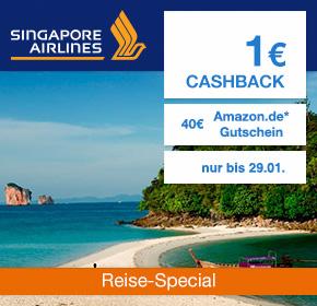 Singapore Airlines: 40€ Amazon.de Gutschein* + 1€ Cashback [Reisefieber 2017]