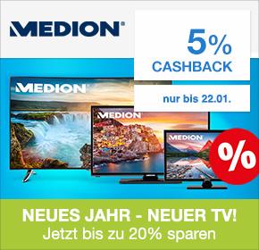 Medion mit 5% Cashback + bis zu 20% auf TVs sparen