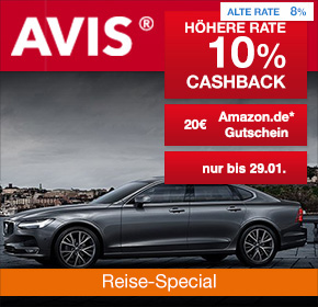AVIS Autovermietung: Bis zu 10% Cashback + 20€ Amazon.de Gutschein* [Reisefieber 2017]