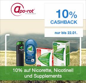apo-rot Versandapotheke: 10% Cashback + 10% Rabatt auf Produkte von nicorette und Nicotinell, 10% Rabatt auf Supplements