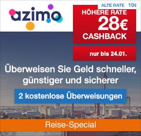 Azimo: 28€ Cashback + 2 kostenlose Überweisungen [Reisefieber 2017]
