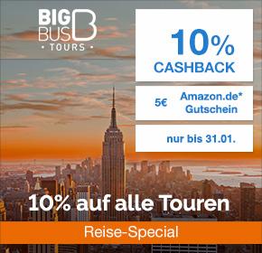 [Exklusiv] Big Bus – 10% Gutschein auf ALLE Touren, 10% Cashback + 5€ Amazon.de Gutschein* [Reisefieber 2017]
