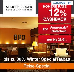 Steigenberger Winter Special: 12% Cashback + 20€ Amazon.de Gutschein* + bis zu 30% Winter Special Rabatt [Reisefieber 2017]