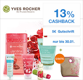 Yves Rocher: 13% Cashback + 5€ oder 10€ Gutschein