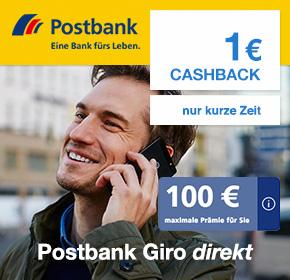 Postbank Giro direkt – bis zu 100€ BestChoice-Einkaufsgutschein + 1€ Cashback
