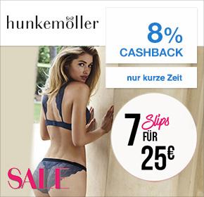 hunkemöller: 7 Slips für 25€ + 8% Cashback