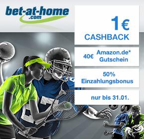 bet-at-home: 40€ Amazon.de Gutschein* + 50% Einzahlungsbonus + 1€ Cashback