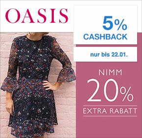 OASIS: 20% Extra Rabatt + 5% Cashback