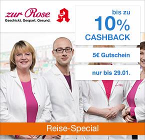 zur Rose Versandapotheke: Bis zu 10% Cashback + 5€ Gutschein [Reisefieber 2017]